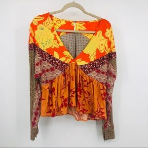 Free people mixed print long sleeve cropped tunic